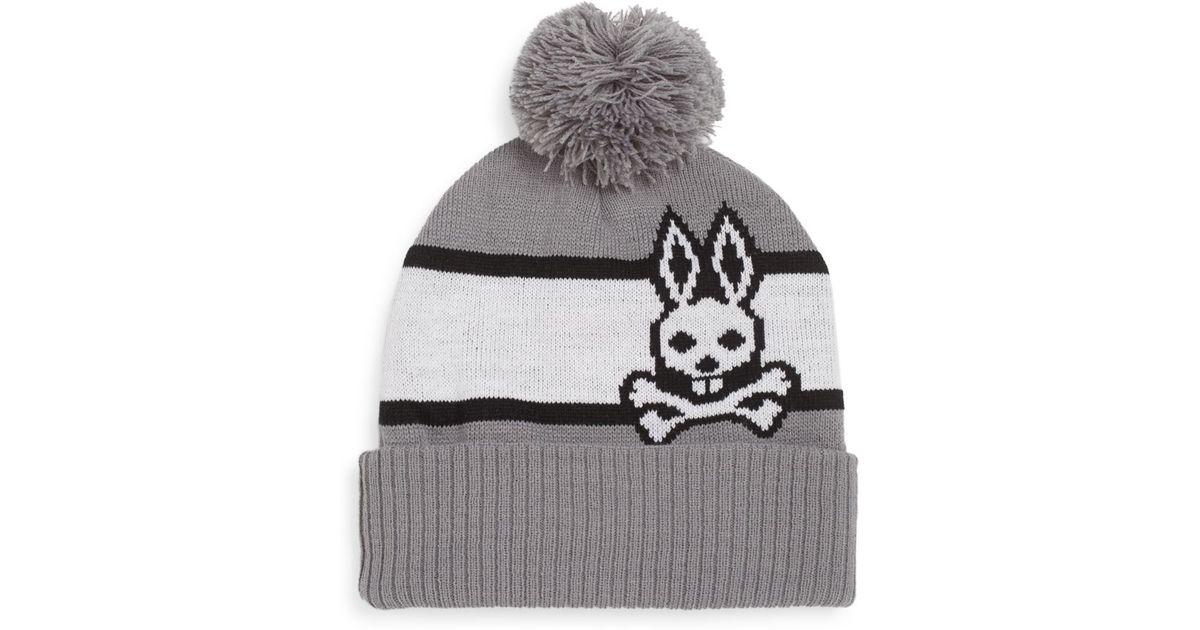 8e08a28dd70 Lyst - Psycho Bunny Striped Pom-pom Beanie in Gray for Men