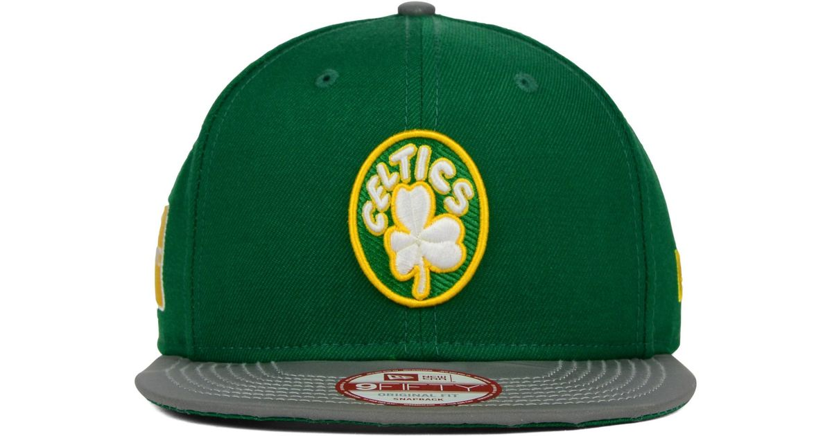 brand new c18f3 27cef ... new zealand lyst ktz boston celtics reflect 9fifty snapback cap in green  for men 7050d c0313