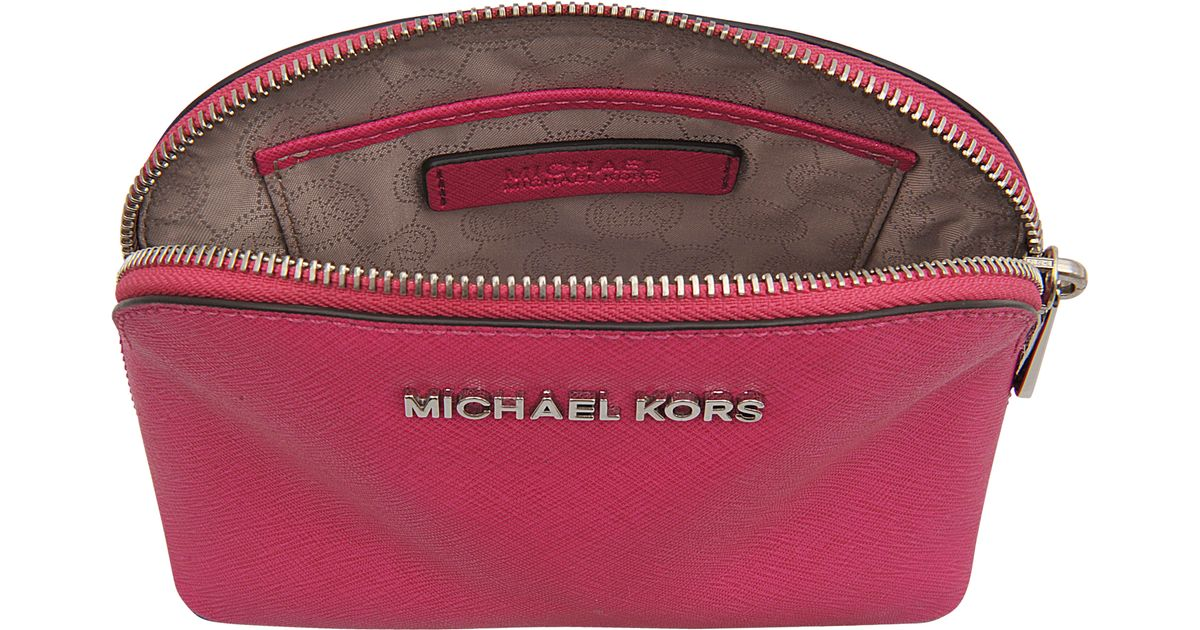 a582edc57294 Lyst - Michael Kors Cosmetics Bag Cindy Rhodium Travel Pouch in Pink