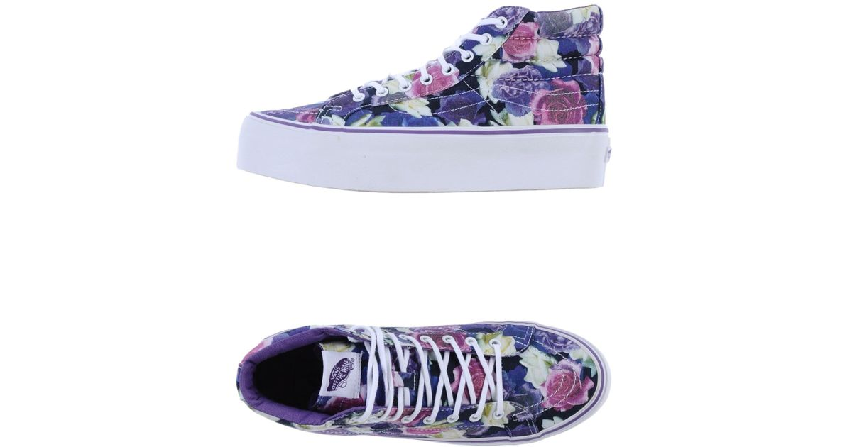 38ec602d69 Lyst - Vans Floral Platform High-Top Sneakers in Purple