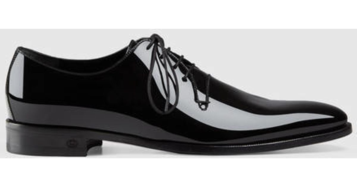 gucci patent leather lace up shoe in black for lyst