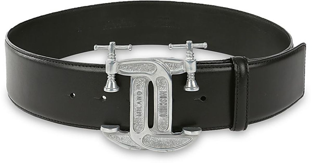 moschino tools leather belt in black for lyst
