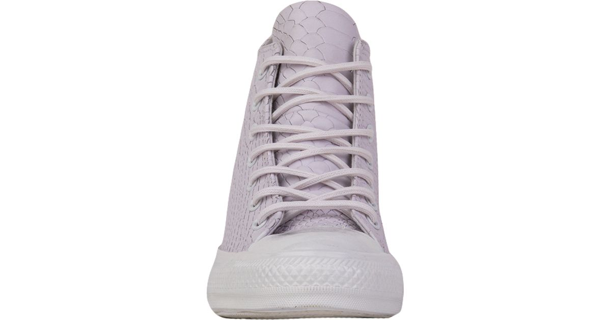 Converse Chuck Taylor All Star Lux Embossed Reptile Mid Top Sneaker Wedges  - White in White - Lyst 30529bf73