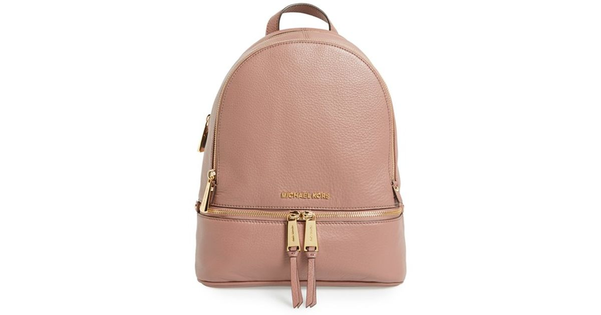30ebfafc85fd92 ... new zealand lyst michael michael kors small rhea zip leather backpack  in pink 5bcf3 b07bc
