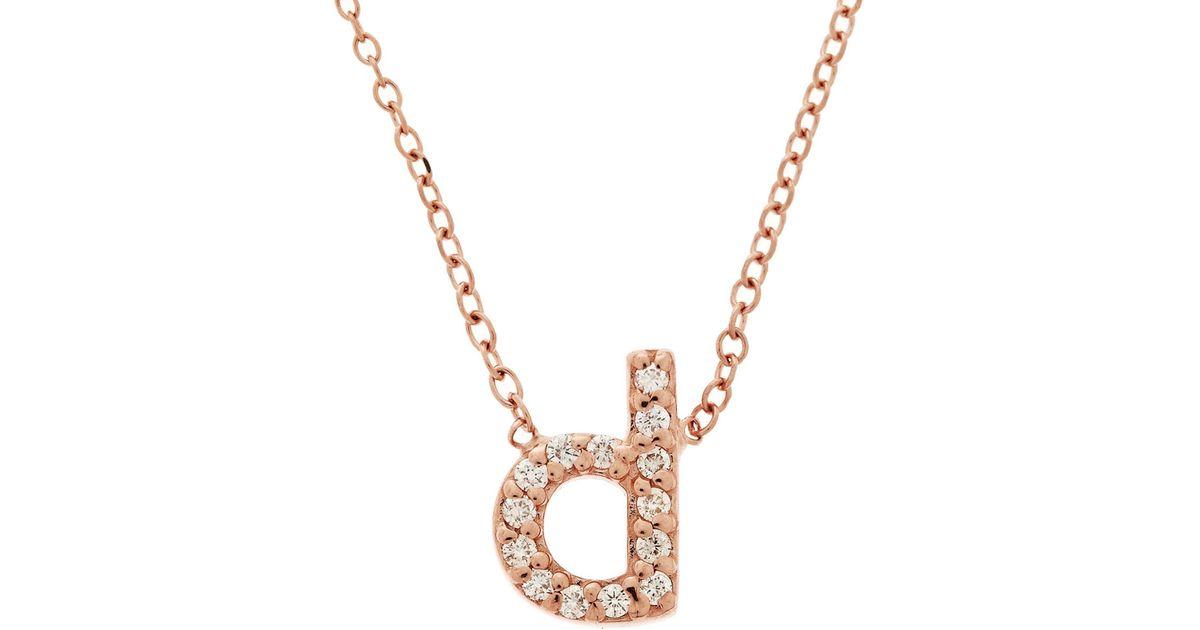 Lyst kc designs rose gold diamond letter d necklace in pink for Letter d diamond pendant