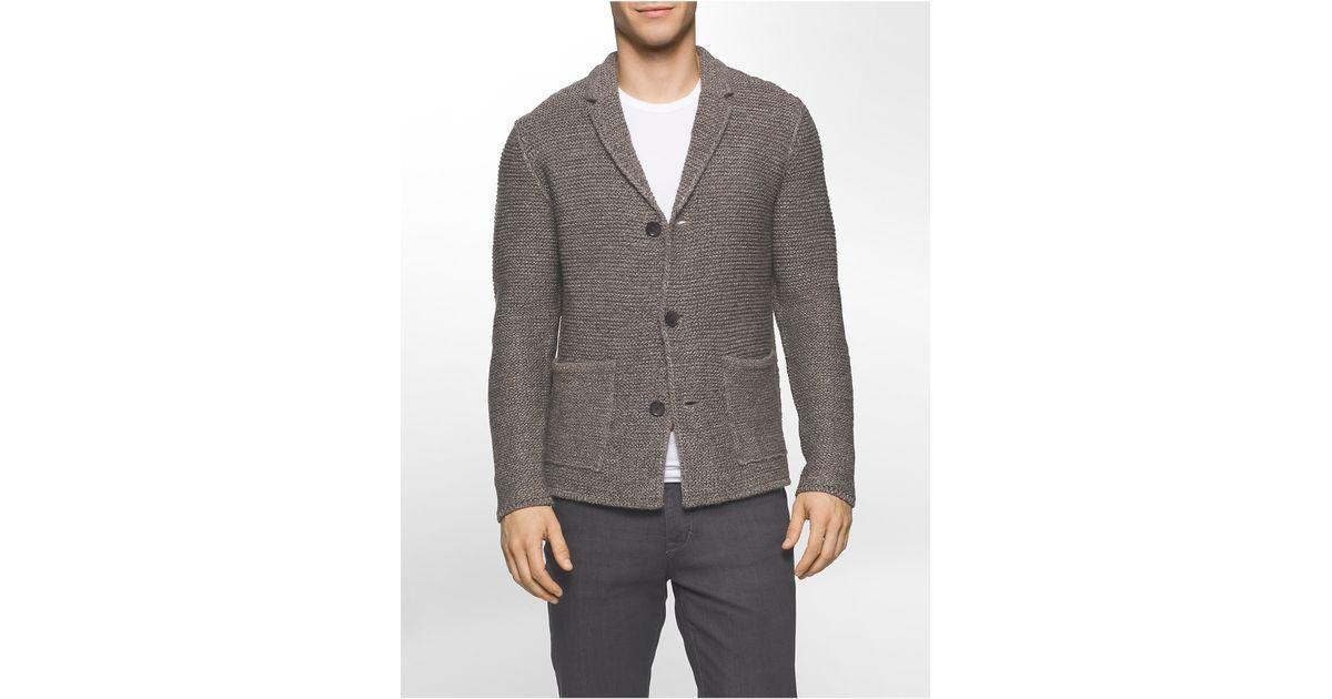 stabile Qualität modischer Stil wie kauft man Calvin Klein - Brown White Label Rib Knit Sweater Blazer for Men - Lyst