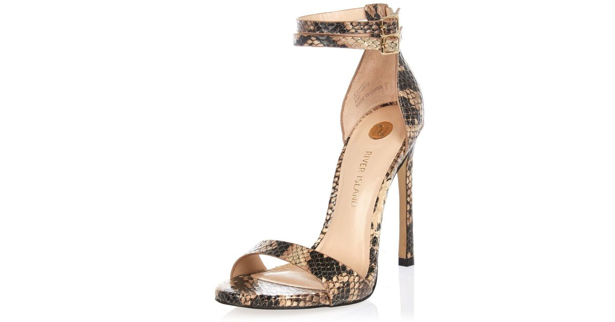 2426e70521bc River Island Beige Snake Print Barely There Heeled Sandals in Natural - Lyst