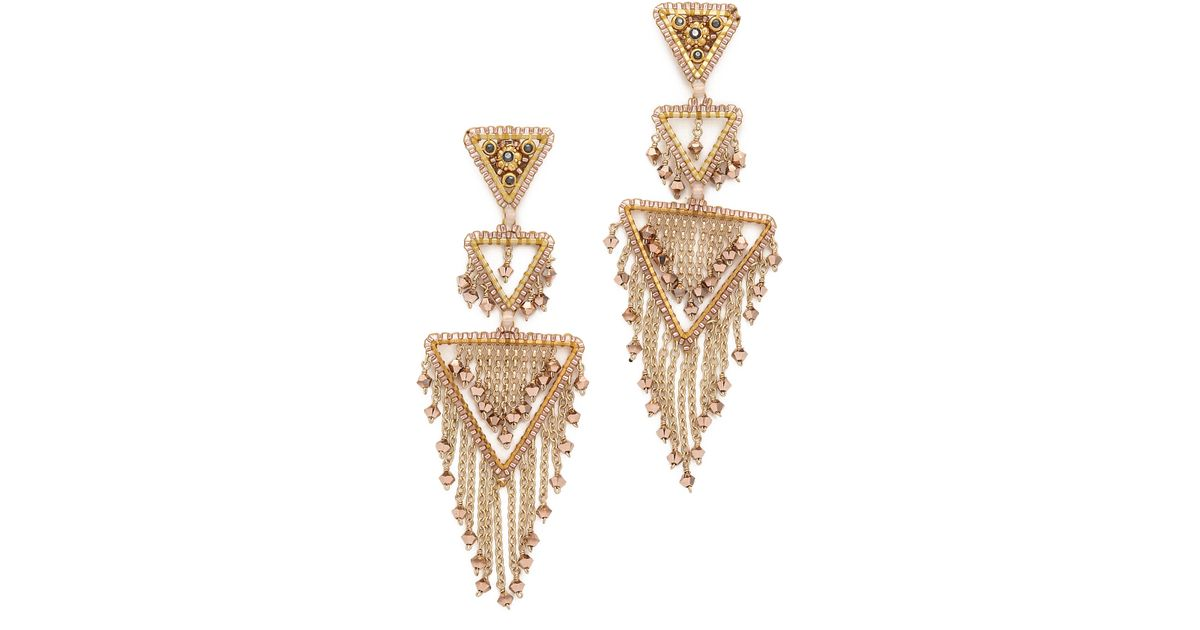 Lyst miguel ases triangle statement chandelier earrings in metallic aloadofball Choice Image