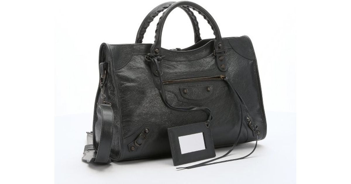 1e9e844752 Lyst - Balenciaga Anthracite Lambskin  classic City  Convertible Tote Bag  in Gray