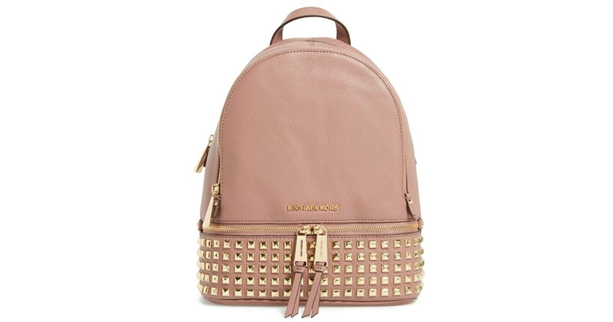 michael michael kors 39 small rhea 39 studded backpack in pink lyst. Black Bedroom Furniture Sets. Home Design Ideas
