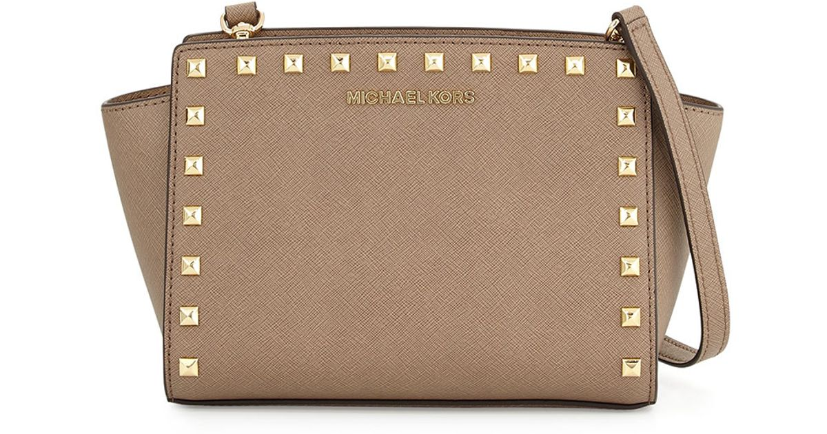 71836f0a49c06 ... new zealand lyst michael michael kors selma medium studded messenger bag  in natural b9fa2 b71a5