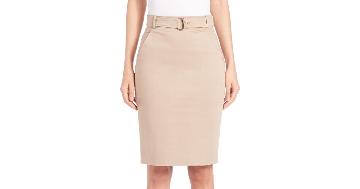 stretch cotton pencil skirt