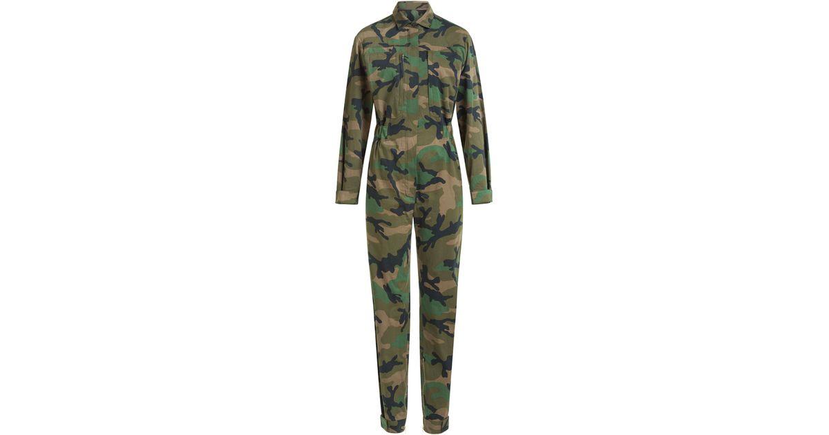 Valentino Cash & Rocket Camouflage Cotton Jumpsuit