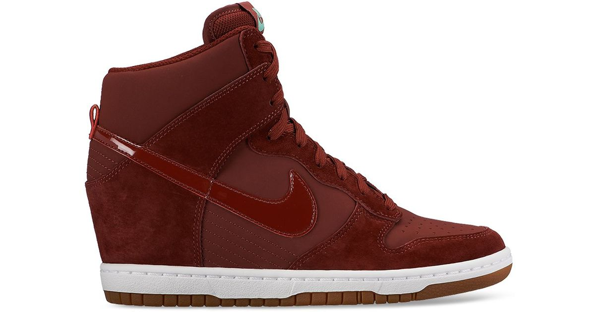 the latest e86f5 df24c ... Lyst - Nike Lace Up High Top Wedge Sneakers - Women S Dunk Sky Hi  Embossed ...