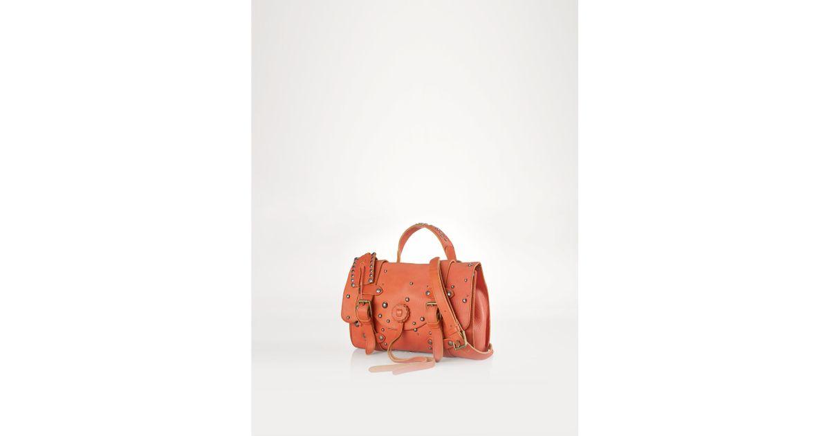 Ralph Lauren Polo Leather Tote Orange