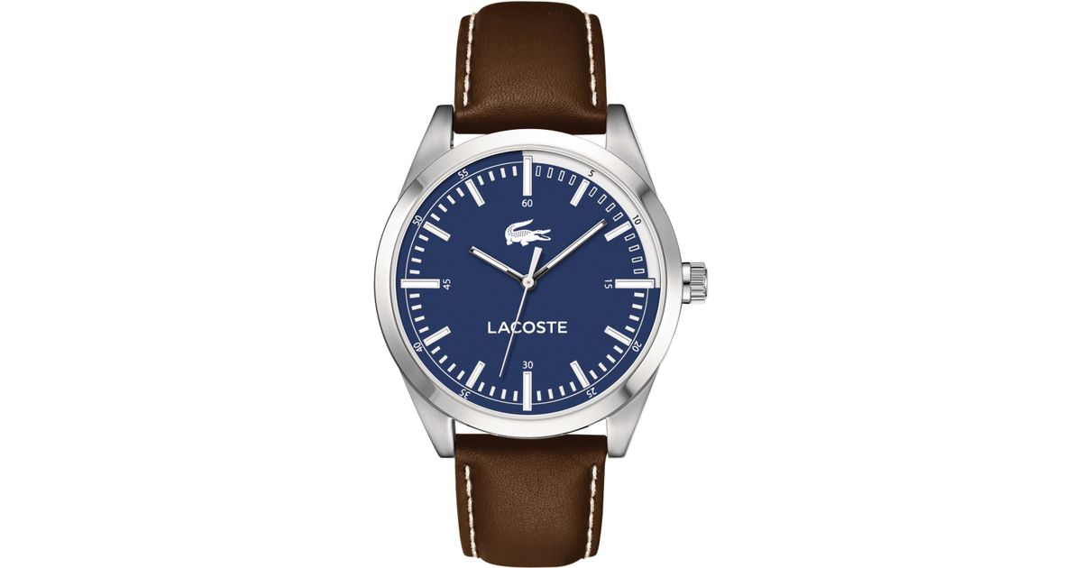 Lyst - Lacoste Men's Montreal Brown Leather Strap Watch 44mm 2010742 in Blue for Men
