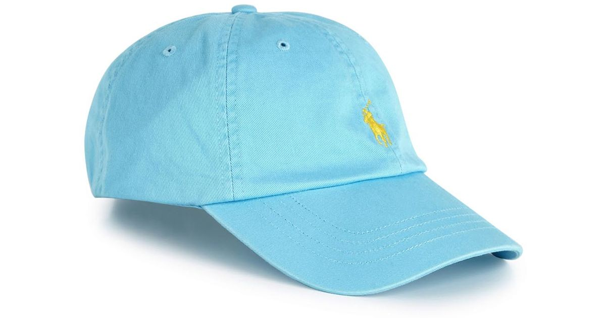 Polo Ralph Lauren Classic Light Blue Cotton Twill Cap in Blue for Men - Lyst c9dc59d9761