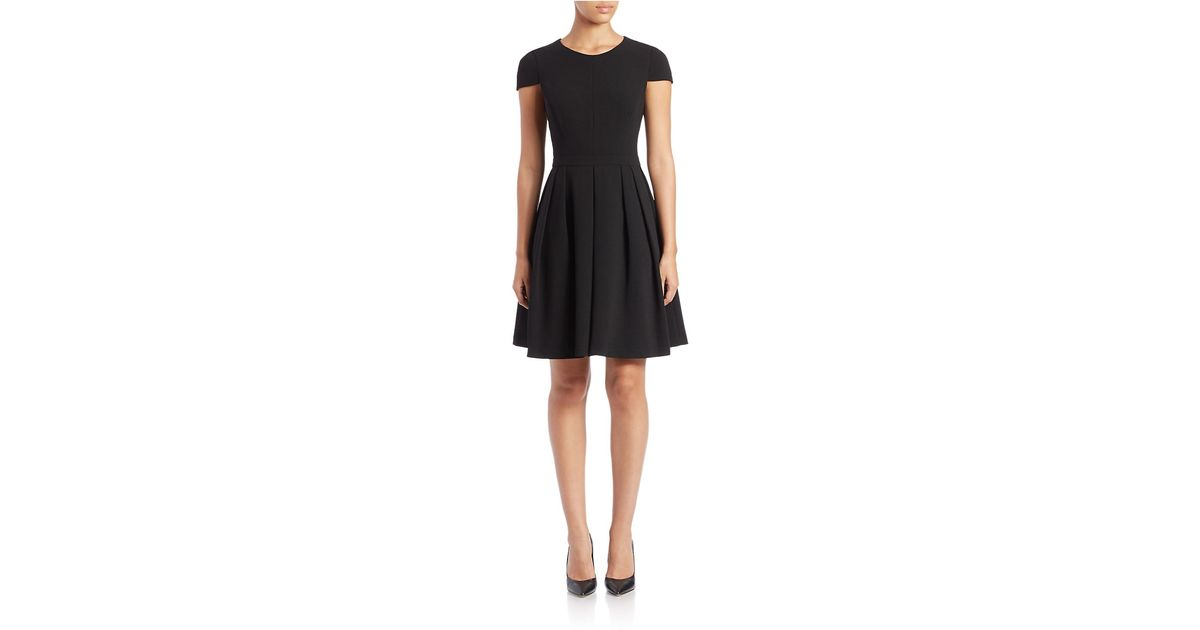 Belle By Badgley Mischka Cap-sleeve Fit-and-flare Dress in Black - Lyst 1b94df81447b