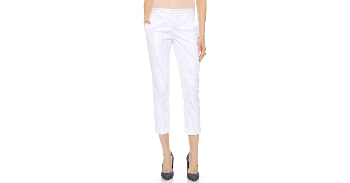 d7961e2d6e Theory Custom Stripe Item Cropped Pants Bluewhite in White - Lyst