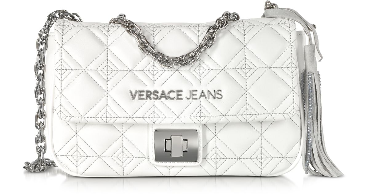69433e7f79ae Lyst - Versace Jeans White Quilted And Embroidered Crossbody Bag in White