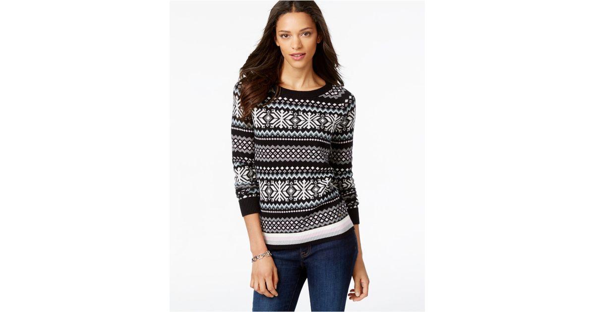 Tommy hilfiger Printed Fairisle Sweater in Black | Lyst