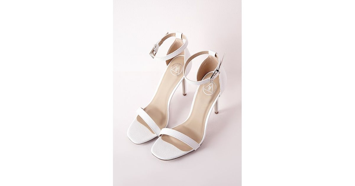 bac8c6be8b951 Lyst - Missguided Barely There Strappy Heeled Sandals White Croc in White
