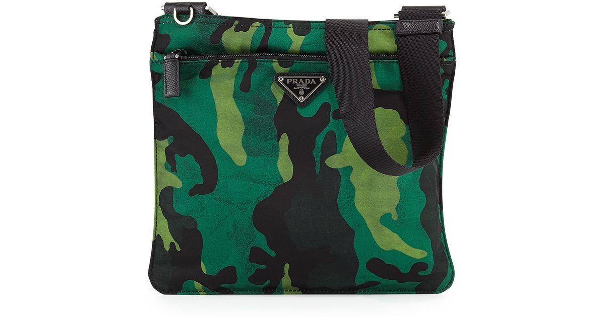 7c8d93cdf9a4ba Prada Tessuto Camouflage Crossbody Bag in Green - Lyst