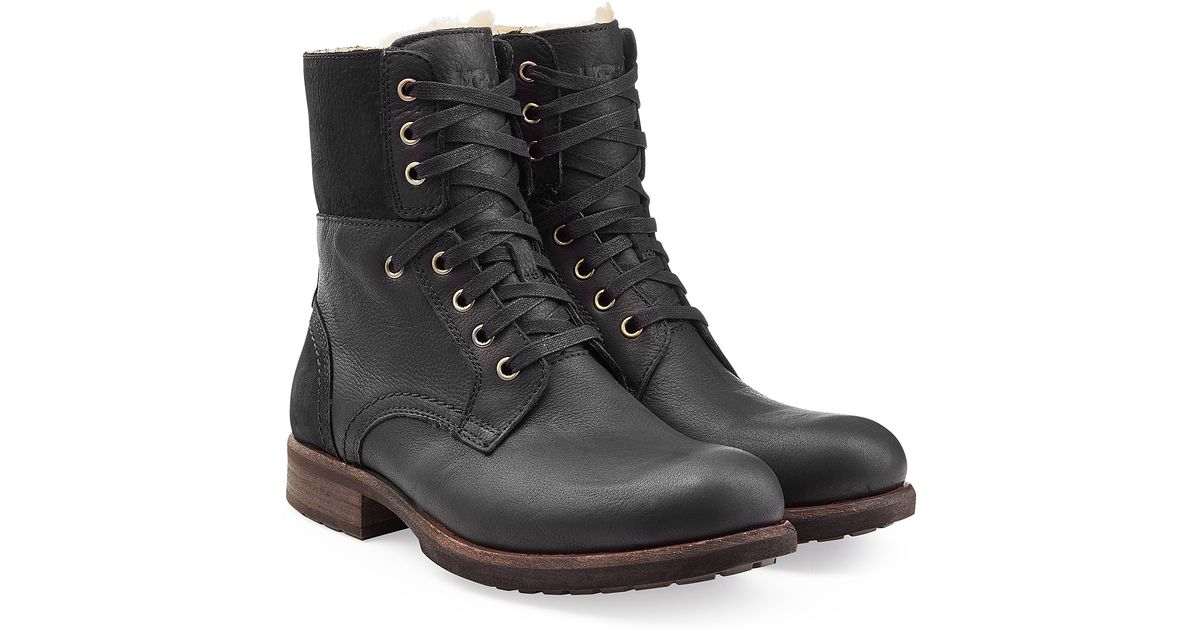 UGG Hannen Leather Combat Boots rXTylacOJa