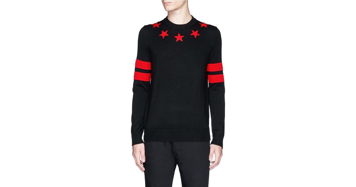 a74bd7d693b37 Lyst - Givenchy Star Appliqué Wool Sweater in Black for Men