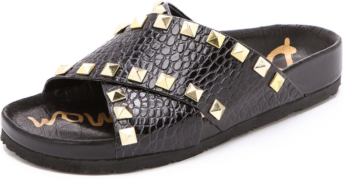 272d4b2f6f4c7a Lyst - Sam Edelman Arina Studded Slide Sandals White in Black