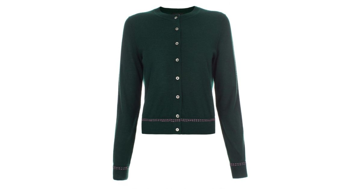 Paul smith Women's Dark Green Cashmere Cardigan in Green | Lyst