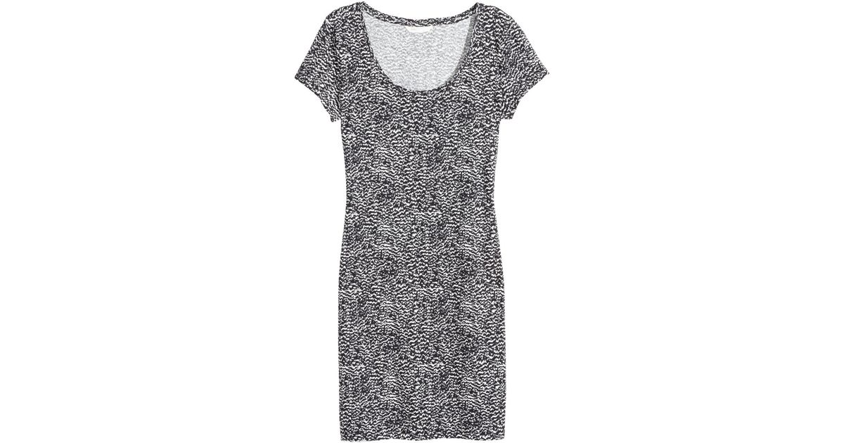 02592e6e8f82 Lyst - H&M Fitted Jersey Dress in White