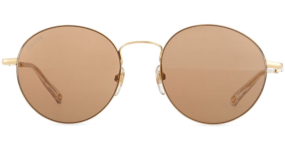 fac000d0c01d Gucci Wire-rim Round Sunglasses in Metallic - Lyst
