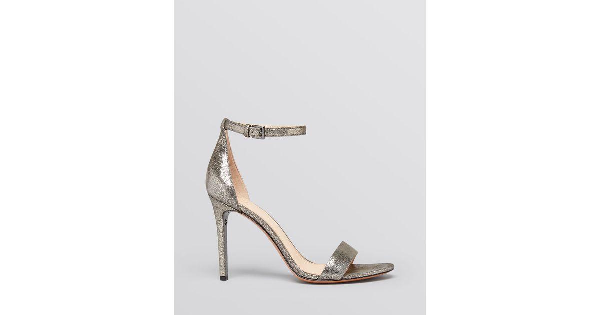 64f6cd756 Lyst - Tory Burch Open Toe Ankle Strap Evening Sandals - Keri High Heel in  Metallic