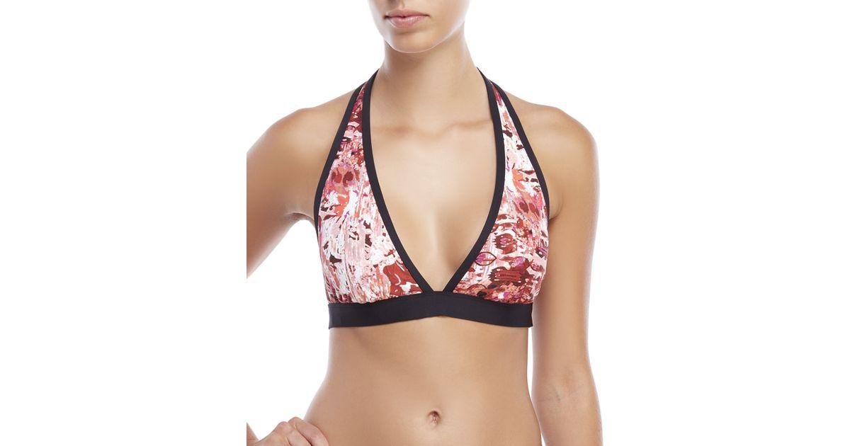 394faf970b Ivanka Trump Printed Halter Bikini Top in Pink - Lyst