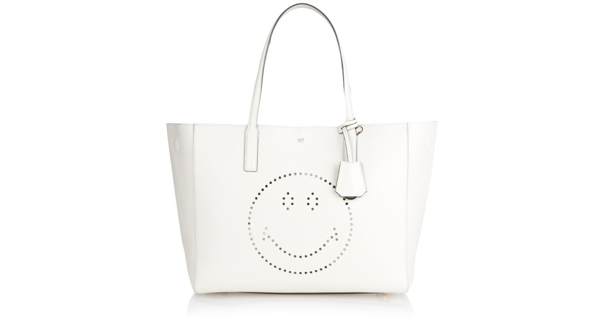 510adcb935e27 Lyst - Anya Hindmarch Smiley Shopper Featherweight Ebury Tote in White
