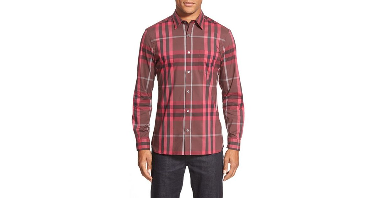 7d65046cfbaec3 Burberry Brit 'nelson' Trim Fit Check Sport Shirt in Red for Men - Lyst
