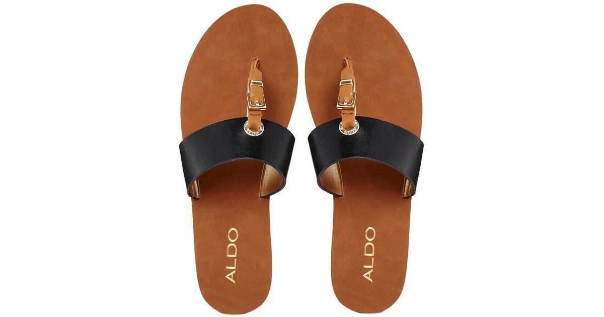 fe69a982b Lyst - ALDO Thong Black Flat Sandals in Black