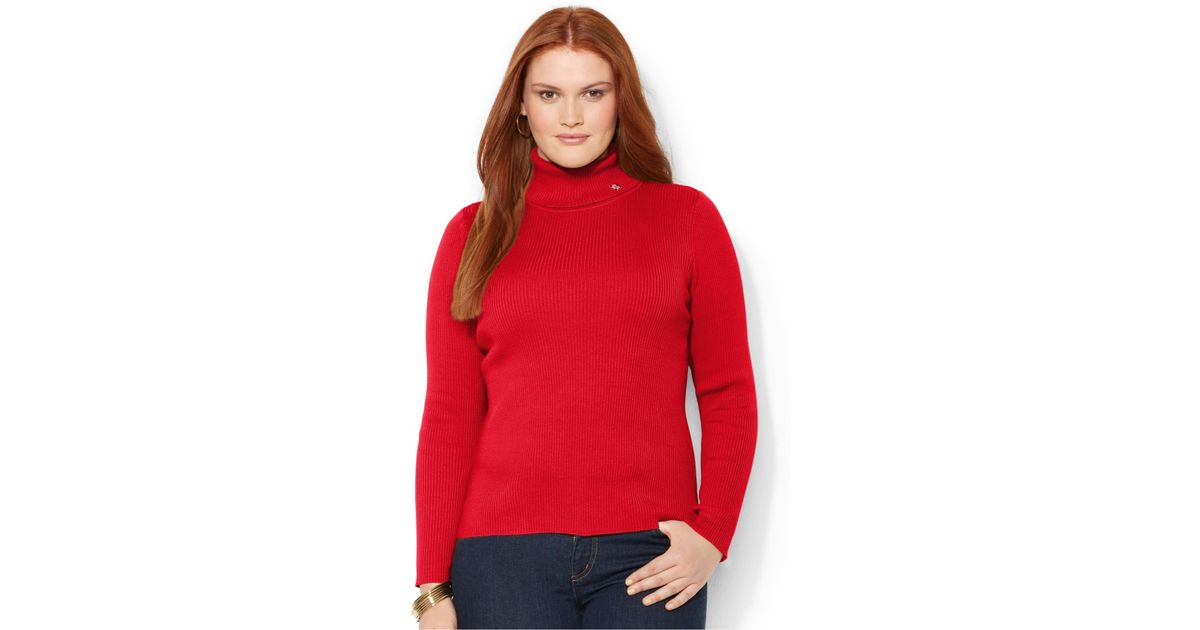01c3425911975 Lyst - Lauren by Ralph Lauren Plus Size Ribbed Turtleneck Sweater in Red