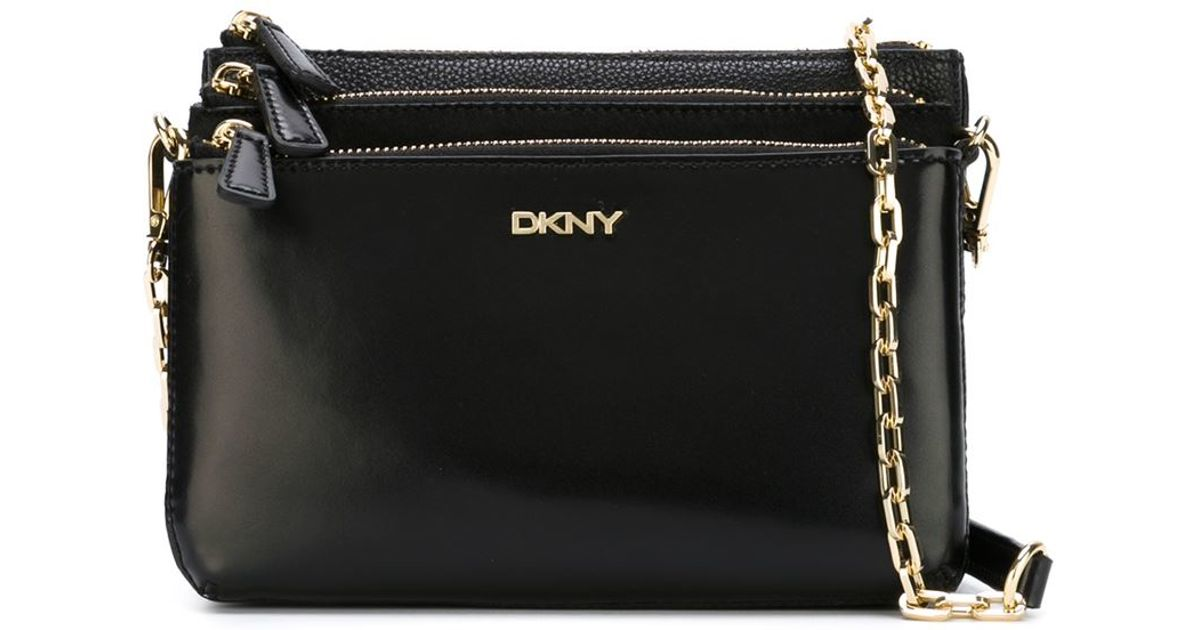 DKNY Triple Zip Crossbody Bag in Black - Lyst
