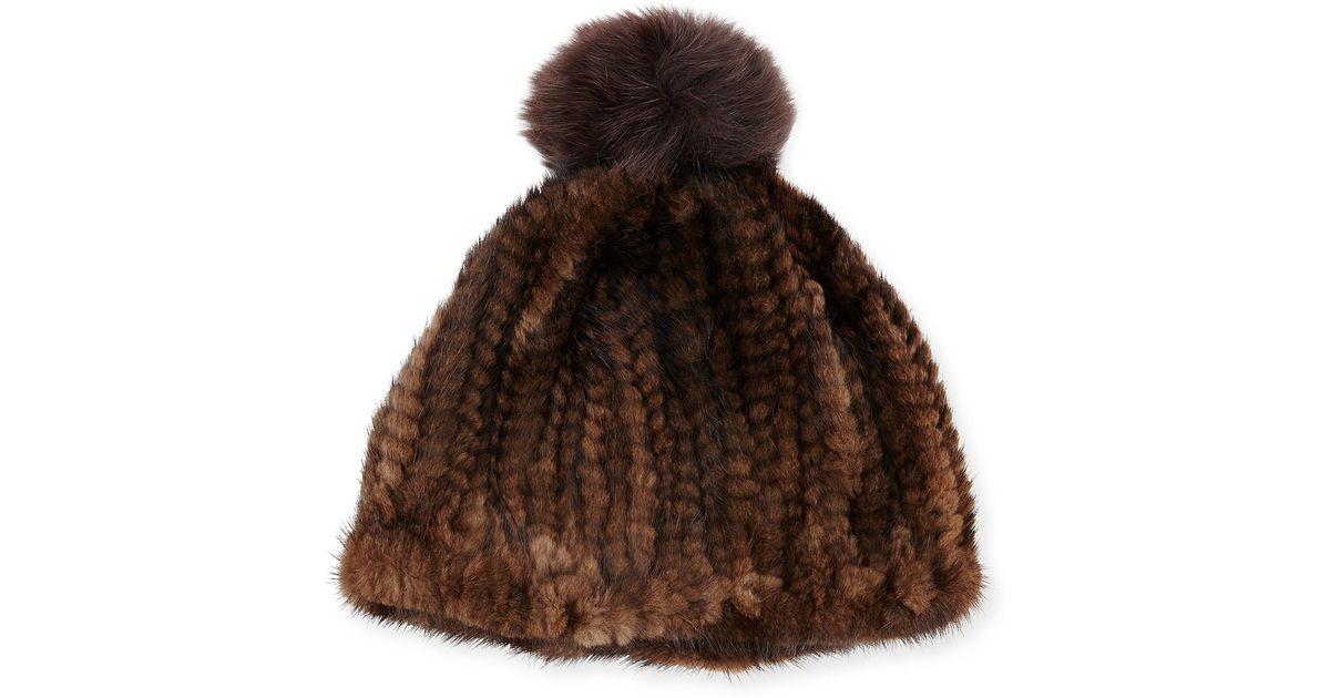 Lyst - Adrienne Landau Knit Mink Hat W fox Pom-pom in Brown f20ac48f1fa