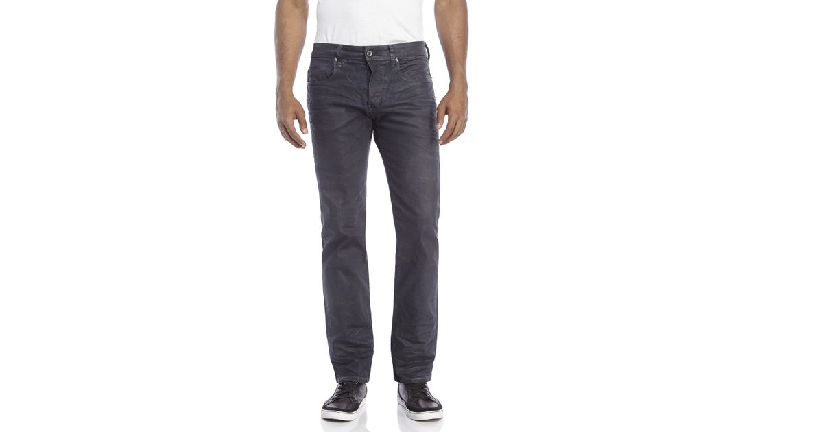 g star raw defend straight leg jeans in gray for men lyst. Black Bedroom Furniture Sets. Home Design Ideas