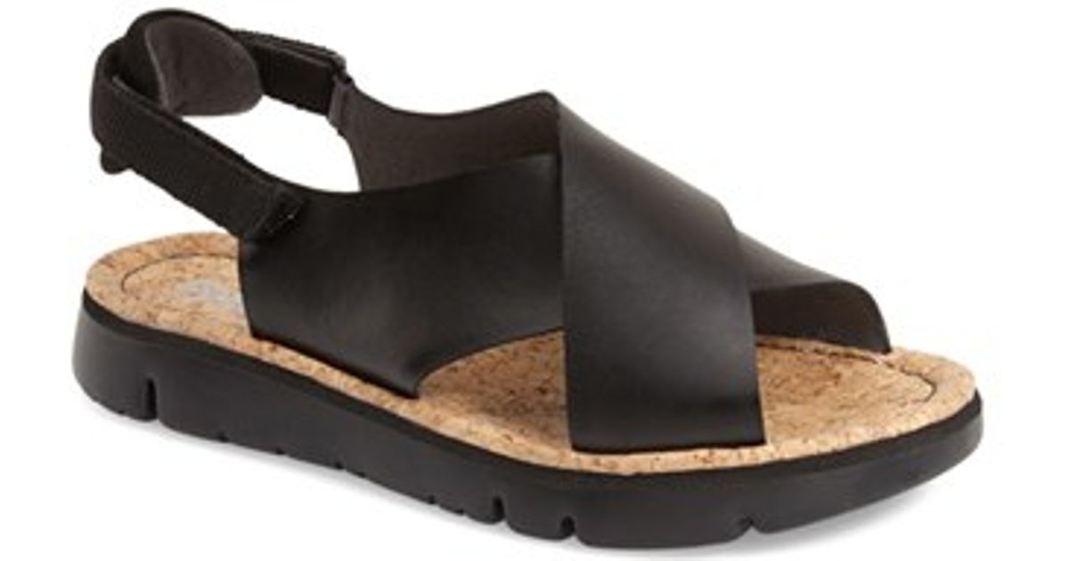 Camper Oruga Criss Cross Leather Sandals In Black Lyst