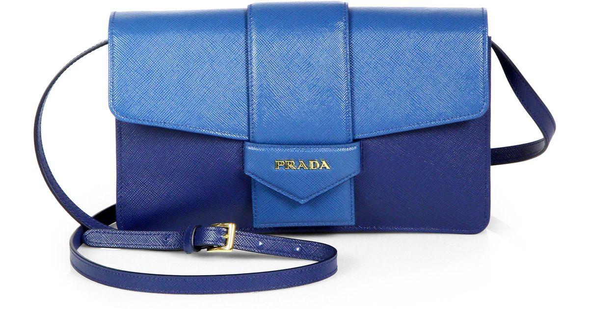0bc95b4dbe7fa4 Prada Saffiano Bicolor Crossbody Wallet in Blue - Lyst