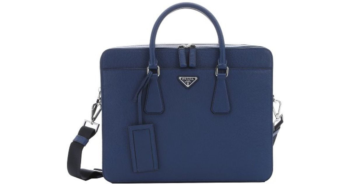 5fe968357d06 low cost lyst prada dark blue saffiano leather top handle briefcase in blue  for men 43c52
