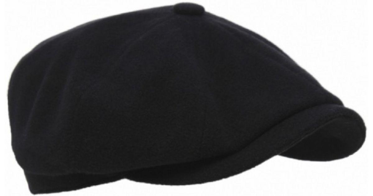 4271ac1a5a9 Stetson Cashmere Blend Hatteras Flat Cap in Black for Men - Lyst
