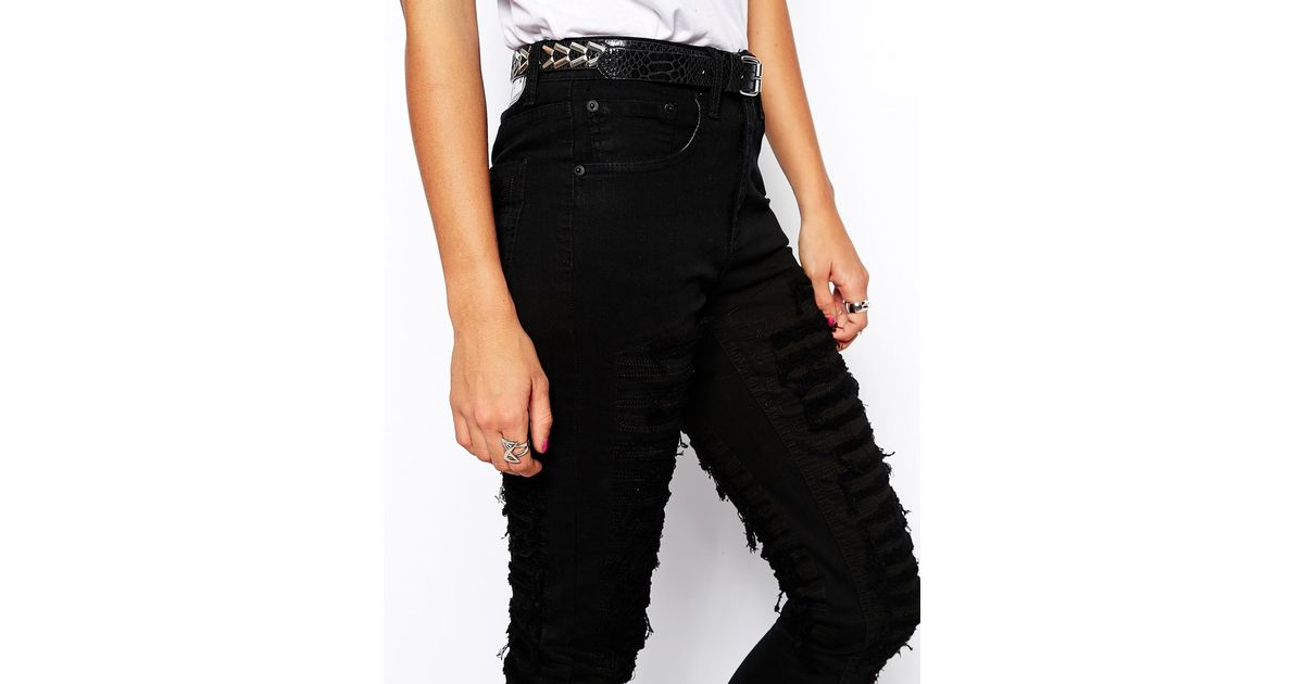 Zee gee why Zee.Gee.Why Super Tight Ripped Skinny Jeans in Black ...