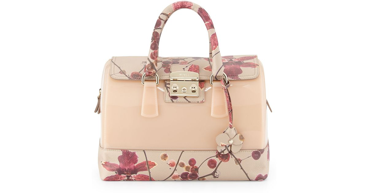 0430dddc6dec Lyst - Furla Candy Floral-print Leather Combo Satchel Bag Blushberry in  Natural