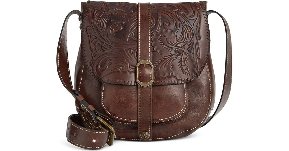 Patricia nash Tooled Barcelona Crossbody in Brown