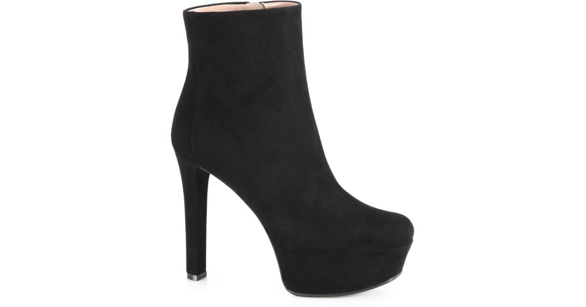 087a9ccd9ac6 Lyst - Gucci Leila Suede Platform Booties in Black